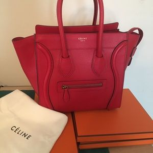 Celine micro luggage tote red drummed leather